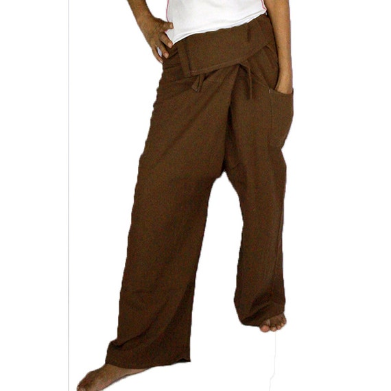 Hippie Dark Brow Cotton Thai Fisherman Pants (P1)
