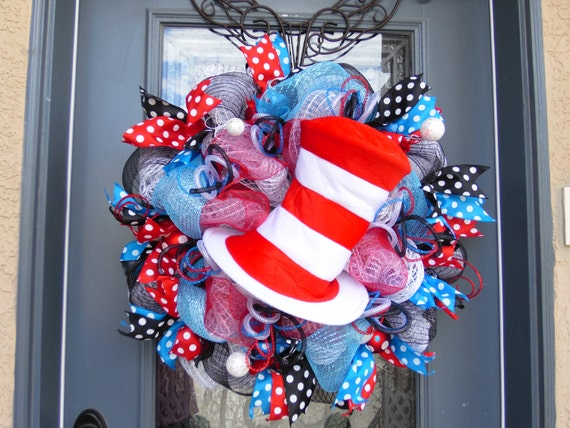 Cat In The Hat Wreath Classroom Decor Child's Room