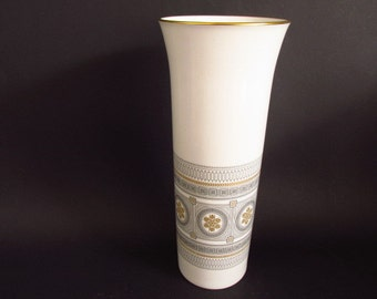Large vintage German vase by Hutschenreuther, porcelain / white  gold and black | 60s