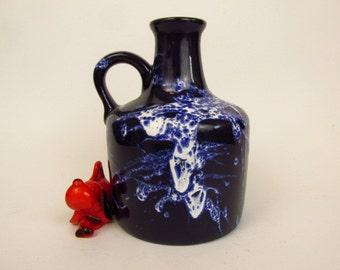 Vintage ceramic jug vase by Marei / blue, white / Fat Lava / Model 4300 | West German Pottery | 60s