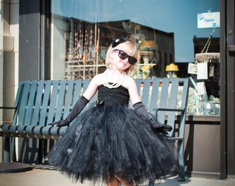 Black Flower Girl Tutu Dress. Baby/Toddler Black tutu dress. Audrey Hepburn Style tutu dress. Little Black tutu dress.