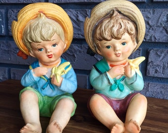 Set of Two Ceramic Lipper and Mann Boys with Bananas FREE USA SHIPPING