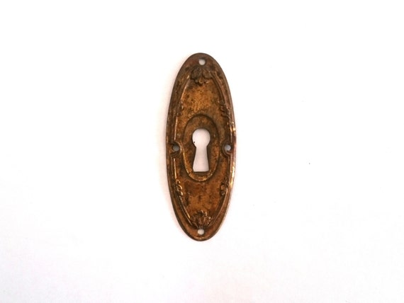 Shabby oval key hole cover stamped shabby escutcheon for for 1 furniture hole cover