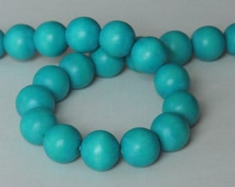 Turquoise Beads, Teal Beads, Round Wood Beads, 20 mm, Large Beads, Chunky Beads, Lightweight Beads, Fast Shipping from USA