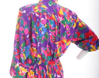 Have a Bright Day Vintage Art Print Midi Shirt Dress