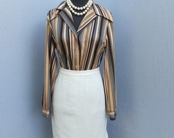 1970s Polyester Short Skirt / Career Skirt / Ivory Skirt, Waist 24 inches