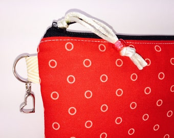 Hot Red Waterproof Bag, Cosmetic Pouch, Wet Bag, for Reusable Nursing Pads, Project Bag, Cloth Pads, Pencil Case, Lunch Pouch