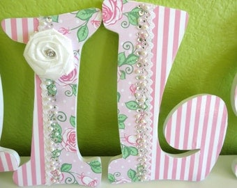 Custon Pink Hanging Nursery Letters for baby girl or kids room with Roses stripes and Rhinestones.