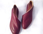 The Sandy AMB~ Handmade to Order~ Antique Mahogany Leather flats with low heel~ Womens Leather Shoes ~ petite and large sizes