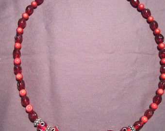 Red Lampwork Glass Beads and Miracle Bead Necklace
