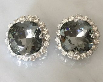 Swarovski Black Diamond Crystal Clip On Earrings, Black Diamond and Clear Crystal Clip On Earrings, Swarovski Black Clip On Earrings