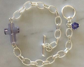 Smoky Mauve Crystal Cross Sterling Link Bracelet