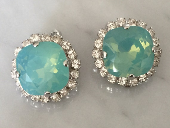 Pacific Opal & Clear Crystal Halo Clip On Earrings