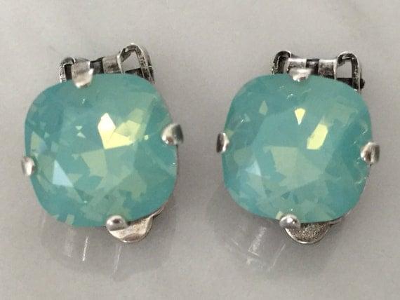 Swarovski Pacific Opal Crystal Clip On Earrings, Swarovski Pacific Opal Clip On Earrings, Swarovski Opal Clip On Earrings