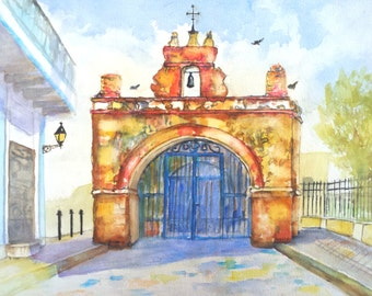 Watercolor Landscape ORIGINAL Painting, Puerto Rico, Capilla del Cristo, 12x16, Old San Juan, church of Christ, Puerto rican art