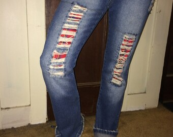Reconstructed Boyfriend Jean, Hand Patched, Repaired