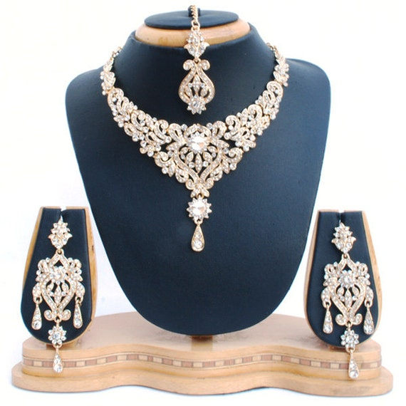 Elegant Bridal Set Heavy Gold Plated Diamante Crystal: Elegant Gold Plated Crystal Diamante Vintage Bridal Set