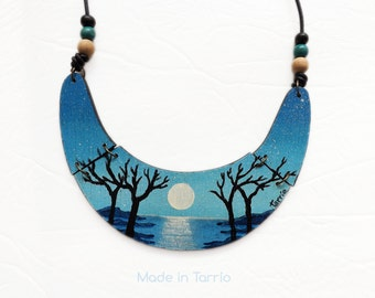 SALE! Wooden necklace hand painted. Night trees