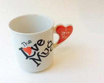 The Love Mug, I Love You, Collector's Coffee Cup, Willoway Sales Inc, Red Heart Handle Valentine's Day Anniversary Gift, Hearts
