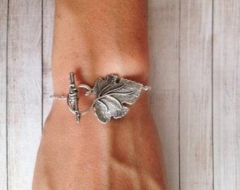 Silver Leaf Bracelet / grape Vine Leaf Bracelet / Silver Leaf Jewelry / Rustic Jewelry