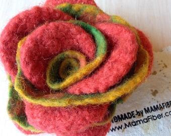 Woollen felted rose brooch - a flower pin in orange-yellow-green