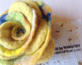 Woollen felted rose brooch - a flower pin in yellow-blue-green