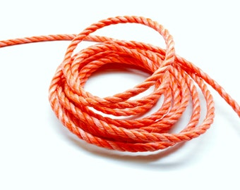 Lot of 2 meters of rope nylon 3 strands orange 6 mm