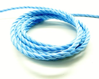 x 1 meter nylon rope 3-Strand Blue 6 mm
