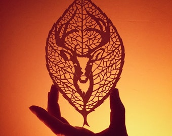 Delicate Stag leaf papercut from Jo Chorny
