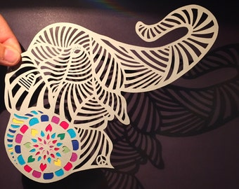 Elephant papercut art from Jo Chorny