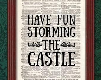 BUY 2 GET 1 FREE Have Fun Storming the Castle Dictionary Art Print Quote Decor Princess Bride Westley Buttercup Miracle Max Inigo Montoya
