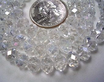 6mm X 8mm Crystal Rondelles 8mm Faceted Clear Glass Light AB Beads Clear Prism Crystal Rondelles Sparkly Crystals 70 Beads Crystal Jewelry