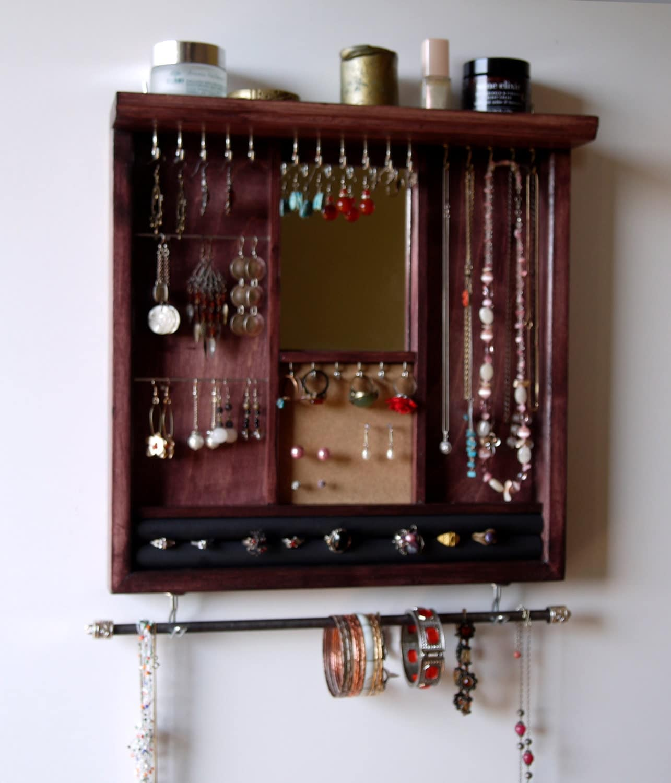 pr sentoir bijoux miroir porte boucles doreilles. Black Bedroom Furniture Sets. Home Design Ideas