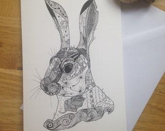 Hare ink giclee greetings card