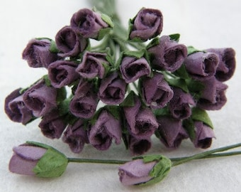 1:12 DOLLHOUSE 25 lilac paper rose buds