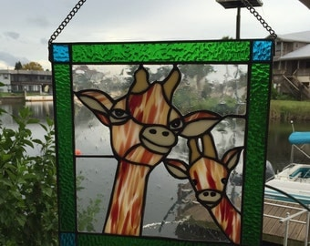 Giraffe Mother & Baby Stained Glass