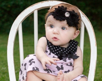 Black baby headband, baby headband, black headband, fancy headband, flower headband, bling headband, diamond headband, photo prop