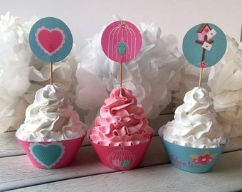 Love birds cupcake wrappers-cupcake wrapper wedding-cupcake cups paper-diy wedding decorations cupcake