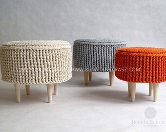 Crochet pouf, crochet footstool, round pouf, knitted pouf, knitted footstool, ottoman, footstool, table model 009. 45cm/17,7inch