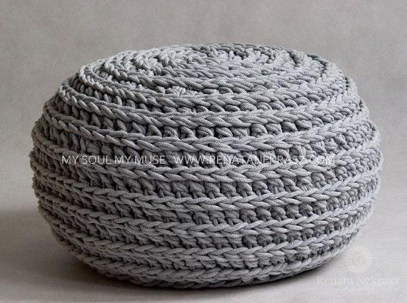 Crochet pouf, crochet footstool, round pouf, knitting pouf, knitted ...