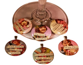 Vintage Women Funny Wine Glass Charms Wine Tags Markers - Set of 6 Wine Charms - Perfect Hostess, Housewarming Gift - Entertaining Idea