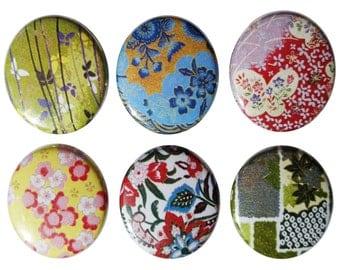 Chiyogami Pattern Fridge Magnets - Set of 6 Magnet Set - Refrigerator Magnets, Perfect Hostess, Housewarming Gift - Home Decor