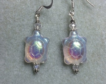 Irridescent Czech glass turtle bead earrings adorned with Chinese crystal beads.