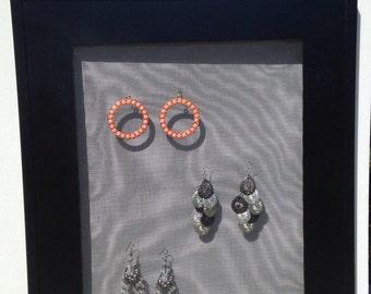 Black; Earring; Holder; Organizer; Wood; Gift Idea