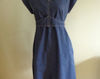 Vintage Blue Denim (Cotton) Dress.  Love!