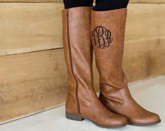 Monogrammed Riding Boots-FREE SHIPPING-Monogram Boots-Personalized Riding Boots-Black or Brown
