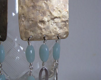 Brass chandelier earrings Amazonite