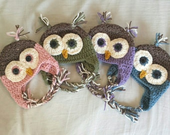 Crochet owl hat, newborn to adult sizes, pink, green, blue, purple, handmade crochet hat, with ear flaps and braids