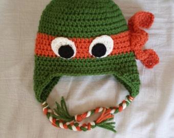 Teenage mutant ninja turtle crochet hat, ear flaps w/braided tails, infant, toddler,child, Leonardo, Michelangelo, Raphael, Donatello