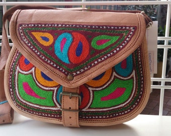 LEATHER handbag, MEDIUM size, handcrafted, boho chic, vintage look, uniquely embroided, naturally cured cross body long shoulder strap